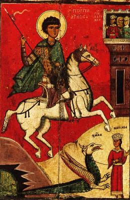 Чудо Георгия о змие. Средник иконы. Начало XIV века. Русский музей