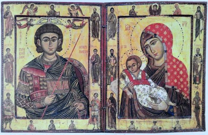 Складень-диптих со св. Прокопием и Богоматерью Киккской. 1280-е гг., монастырь св. Екатерины на Синае