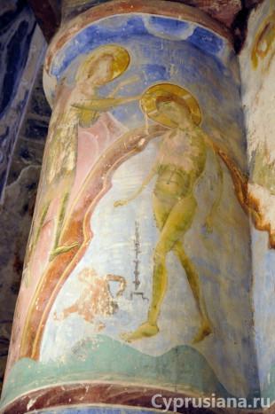 Богоявление (Крещение). Роспись церкви Христа Антифонидиса в Калогреа. XII век
