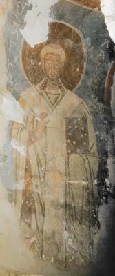 Лазарь Друг Божий, епископ Китийский. Фреска в южной световой арке в алтаре Николо-Дворищенского собора. Около 1120