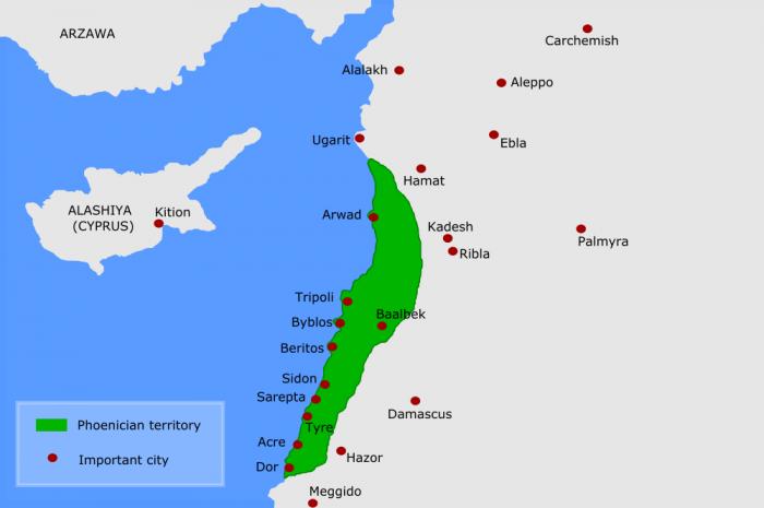 Карта Финикии