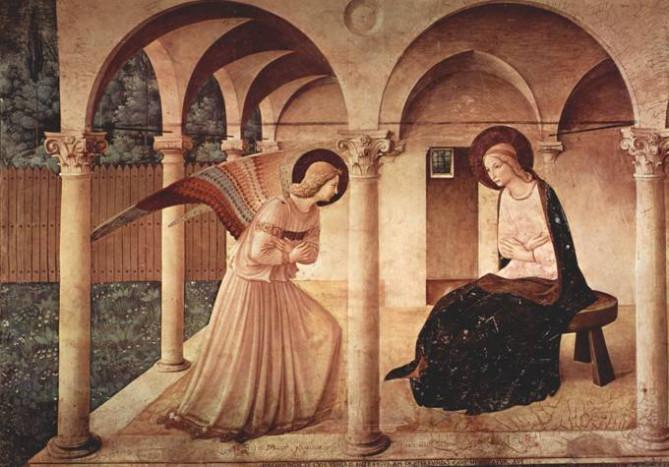 Фра Анжелико. Благовещение. Около 1450. Музей Сан Марко (бывший доминиканский монастырь), фреска в коридоре