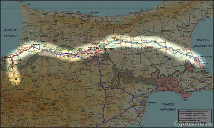 Карта железных дорог Кипра