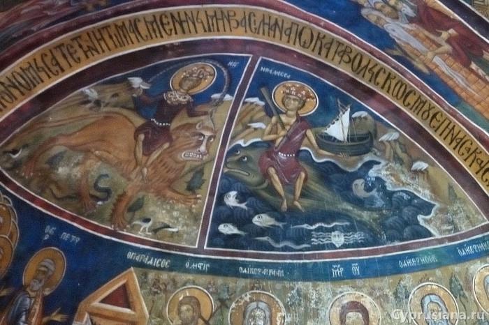 Земля и Море отдают мертвых. Роспись нартекса церкви Панагия Форвиотисса тис Асину. 1330-е годы