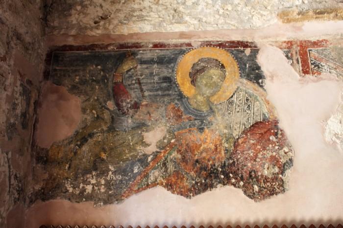 Святой Георгий. Роспись церкви церкви Панагия Хрисолевуса в селении Эмба (Недалеко от Пафоса). Конец XV века