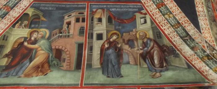 Встреча Марии и Елизаветы («Имущи Богоприятную Дева утробу…»); Сомнения Иосифа («Бурю внутрь себя имея помышлений сумнительных…»). Росписи Латинской капеллы