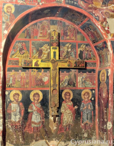 История обретения Честного Креста. 1494. Роспись церкви Св. Креста Агиасмати, возле Платанистасы