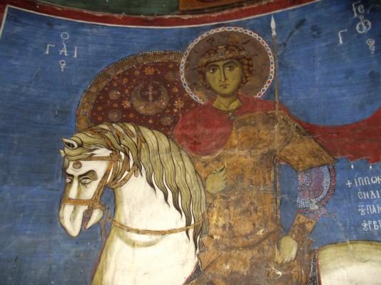 Святой Георгий из церкви Асину. Деталь